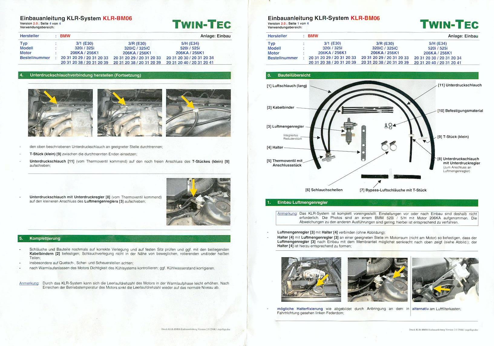Einbauanleitung F 252 R Twin Tec Klr Bm06 Antrieb E30 Talk Com